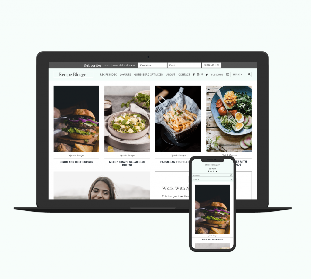 recipe blogger theme